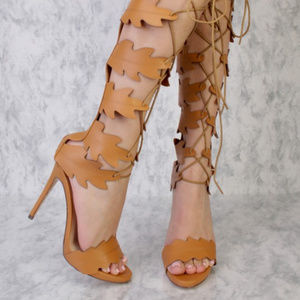75464b95 Shoes - Camel Swirl Cut Out Detailing Peep Toe Gladiator S